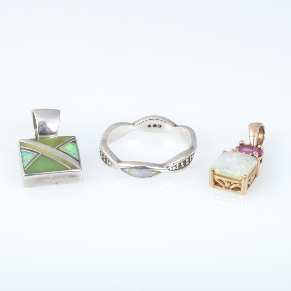 Sterling Silver Synthetic Opal Jewelry Featuring Diamond Accents