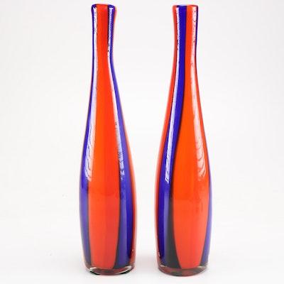 Mid-Century Blue Striped Glass Vases