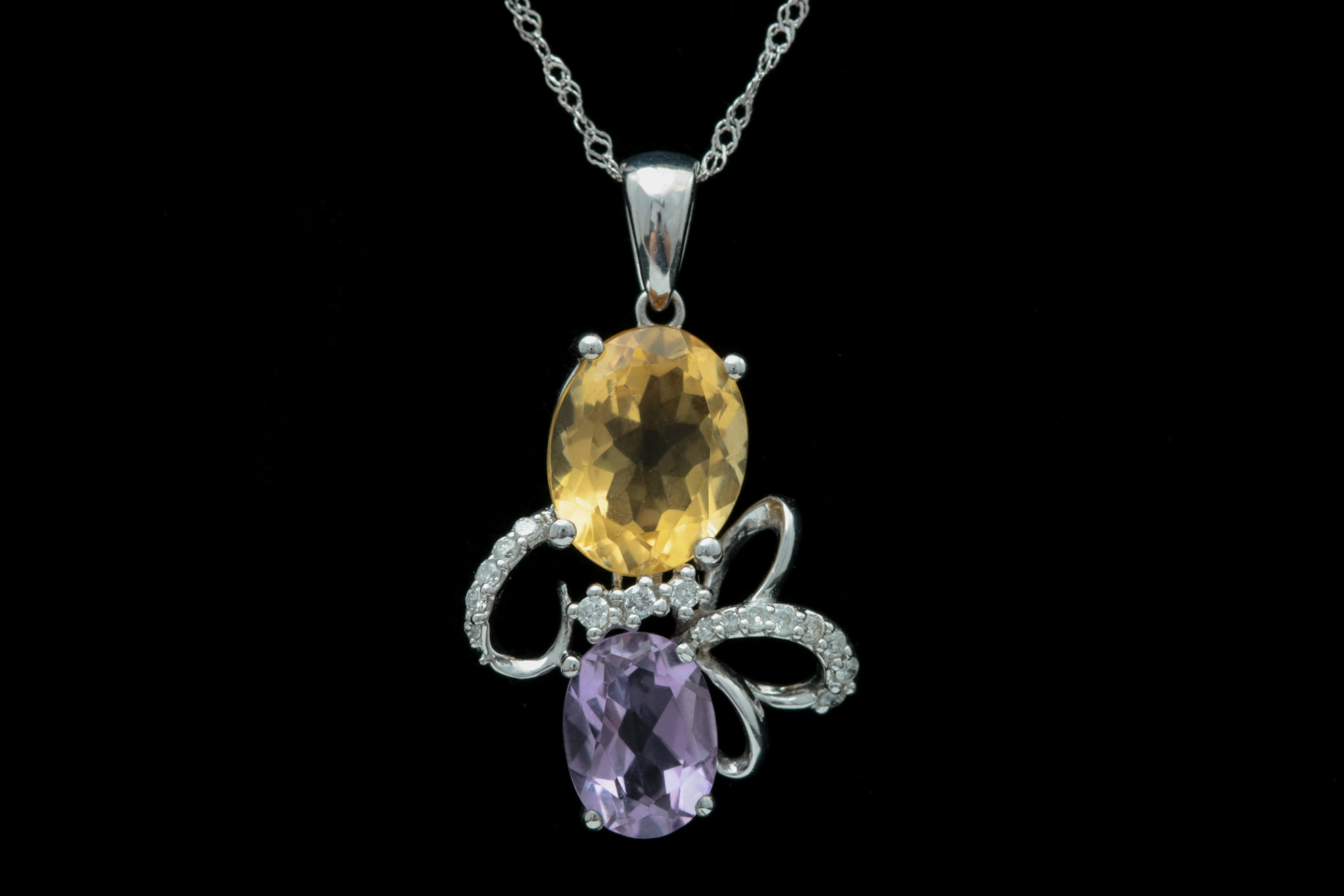 18K White Gold, Citrine, Amethyst and Diamond Pendant with Chain