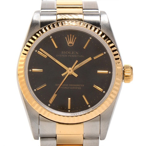 Rolex Oyster Perpetual Mid-Size 18K Gold & Steel Black Automatic