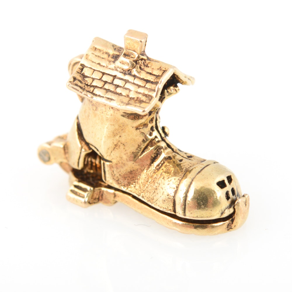 9K Yellow Gold Little Old Woman Who Lived in a Shoe Charm