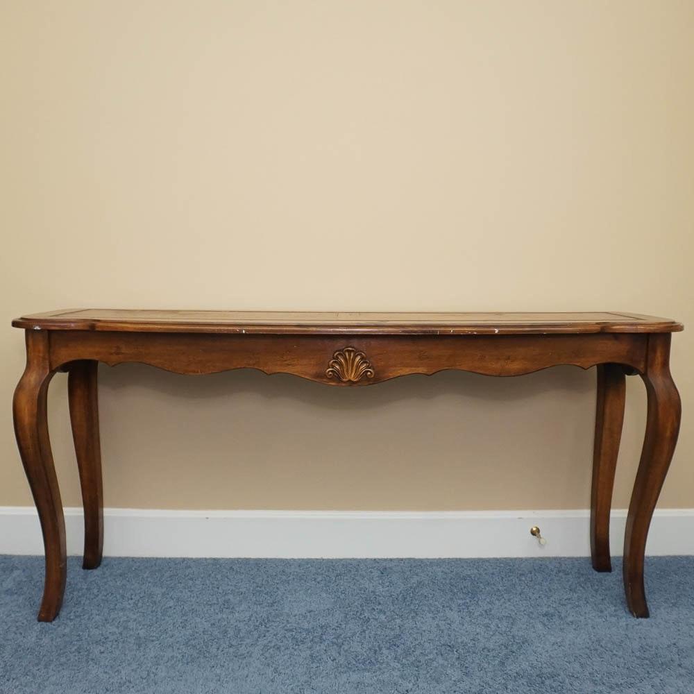 Vintage Queen Anne Style Oak Console Table