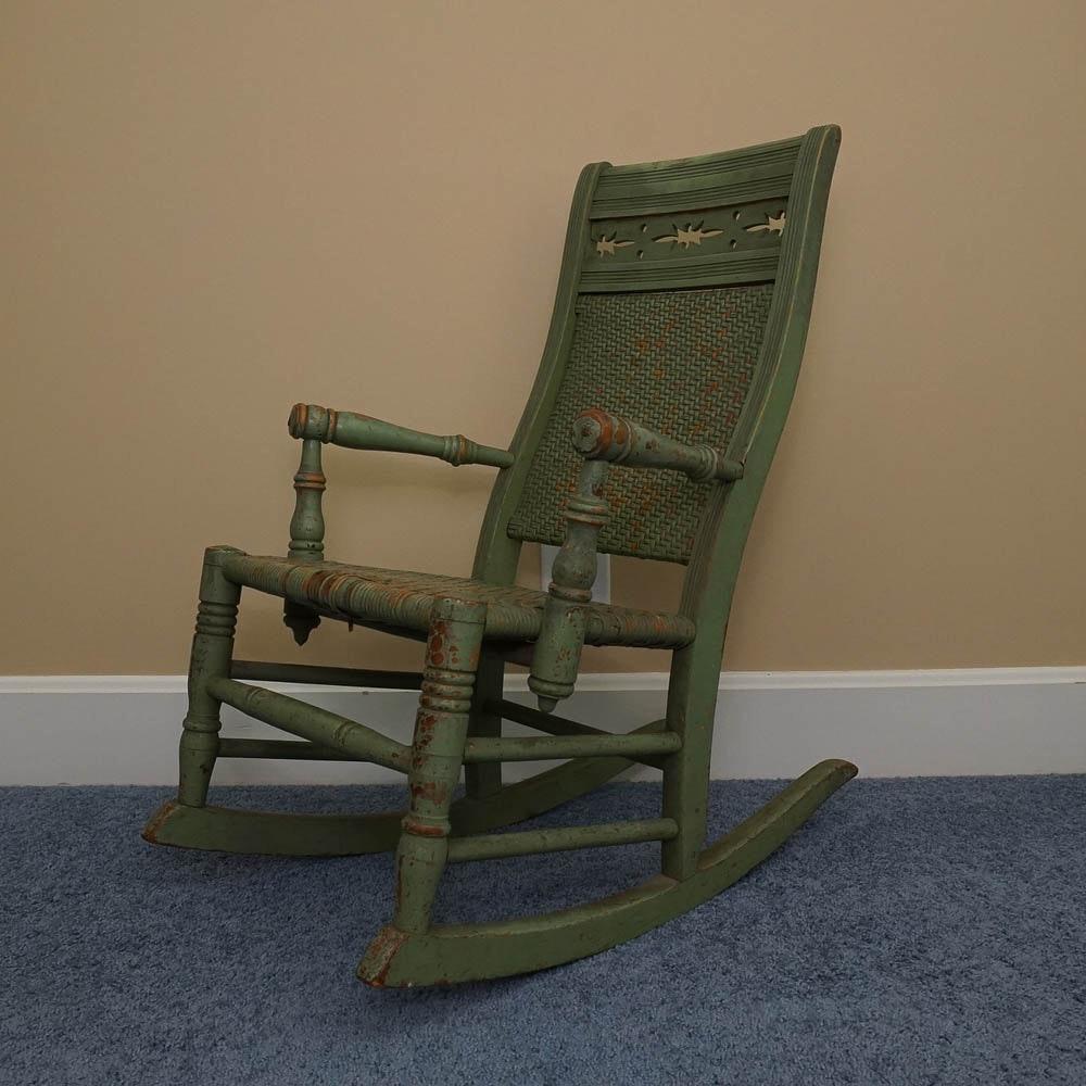 Antique Child's Rush Seat Rocking Chair