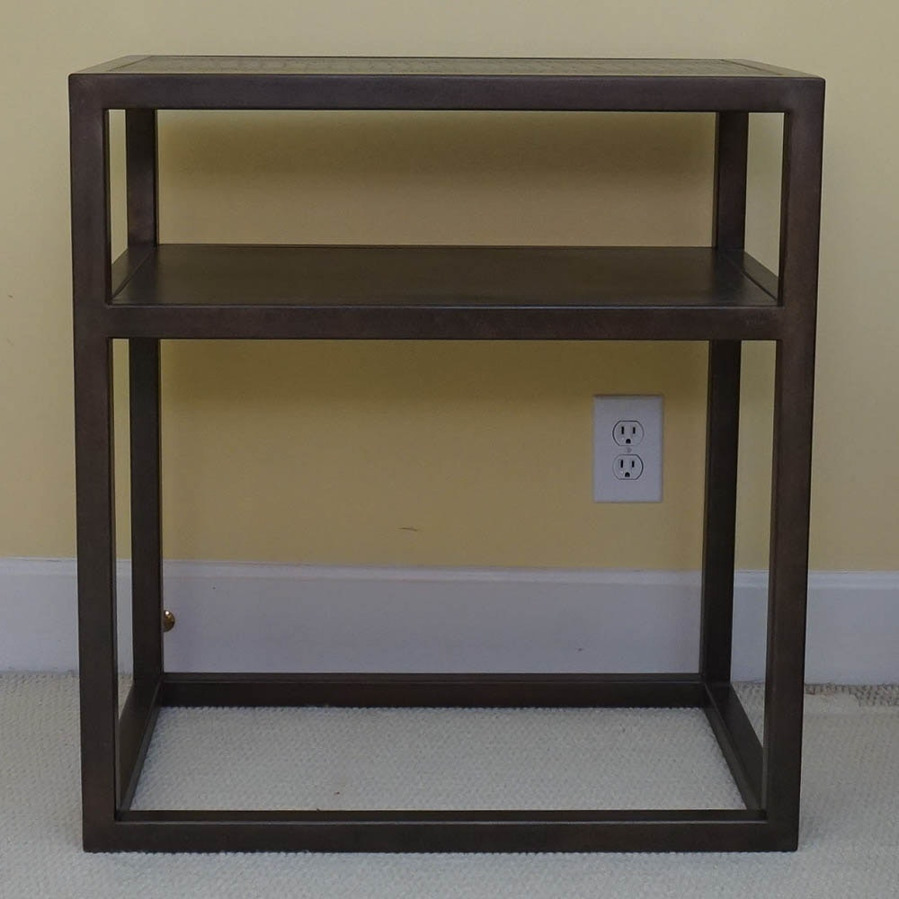 Iron and Faux Leather Two Tier Side Table