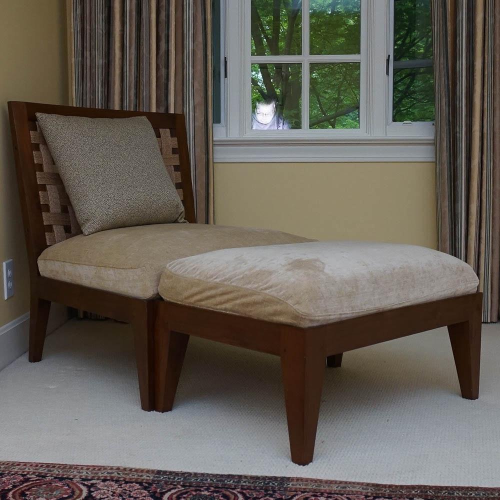 Modern Slant Back Chair With Ottoman