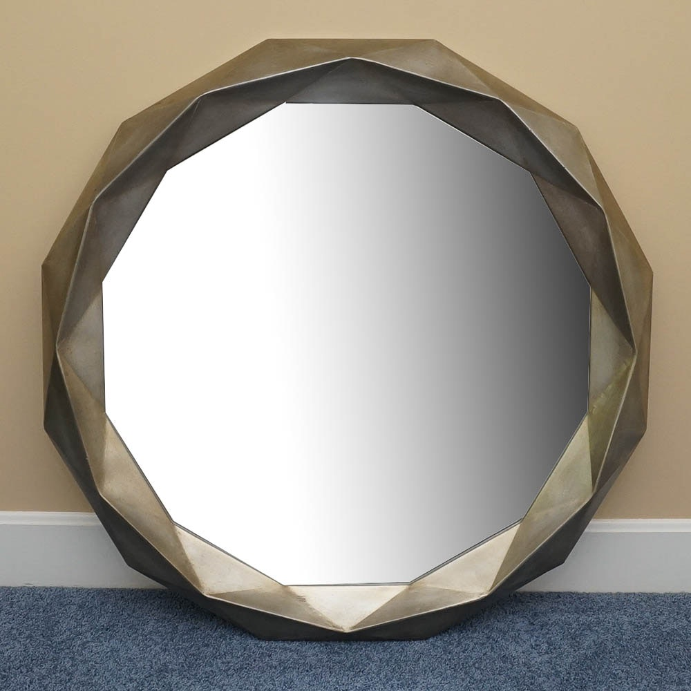 Wall Mirror With Faceted Style Frame