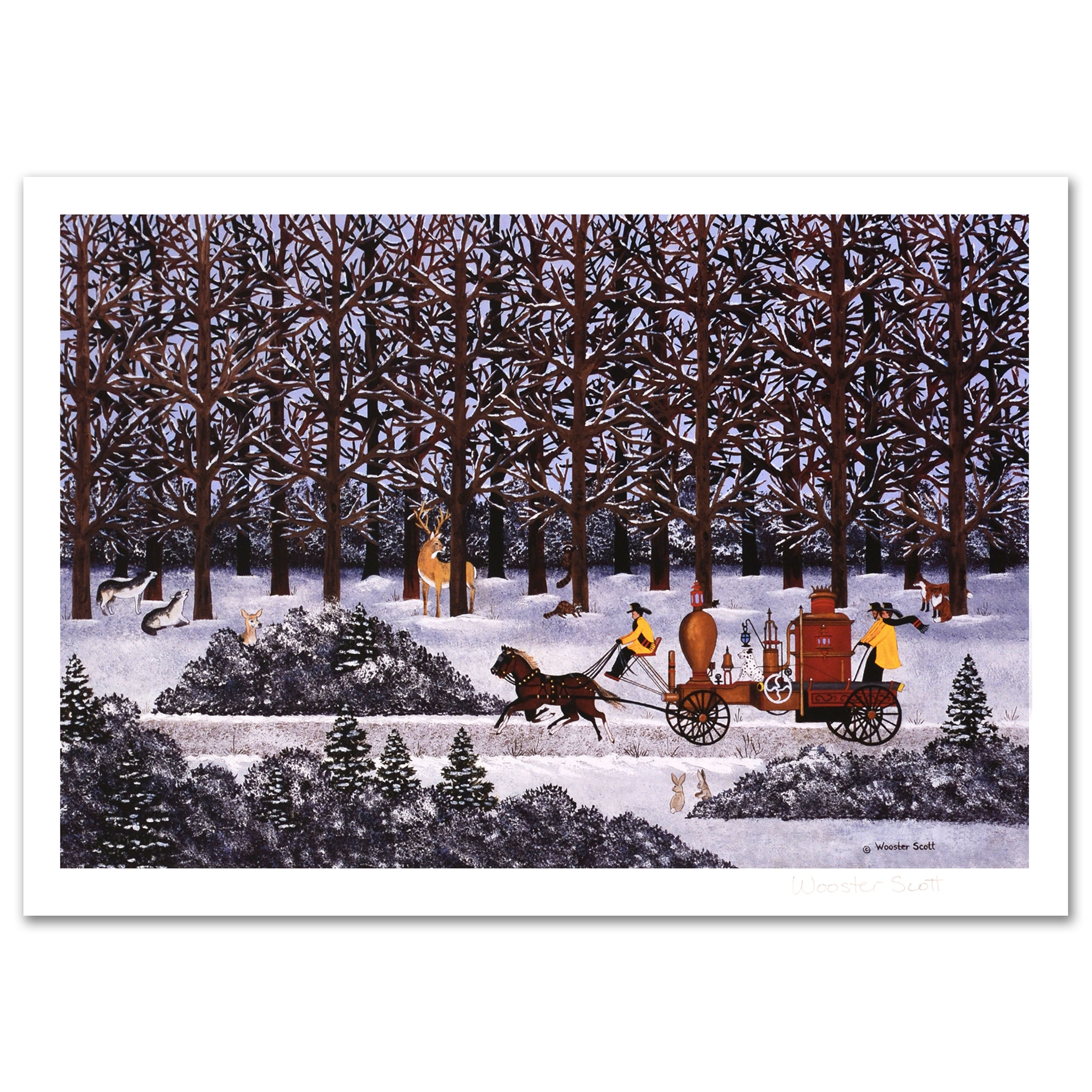 "Jane Wooster Scott Limited Edition Lithograph ""Dashing Through the Snow"""