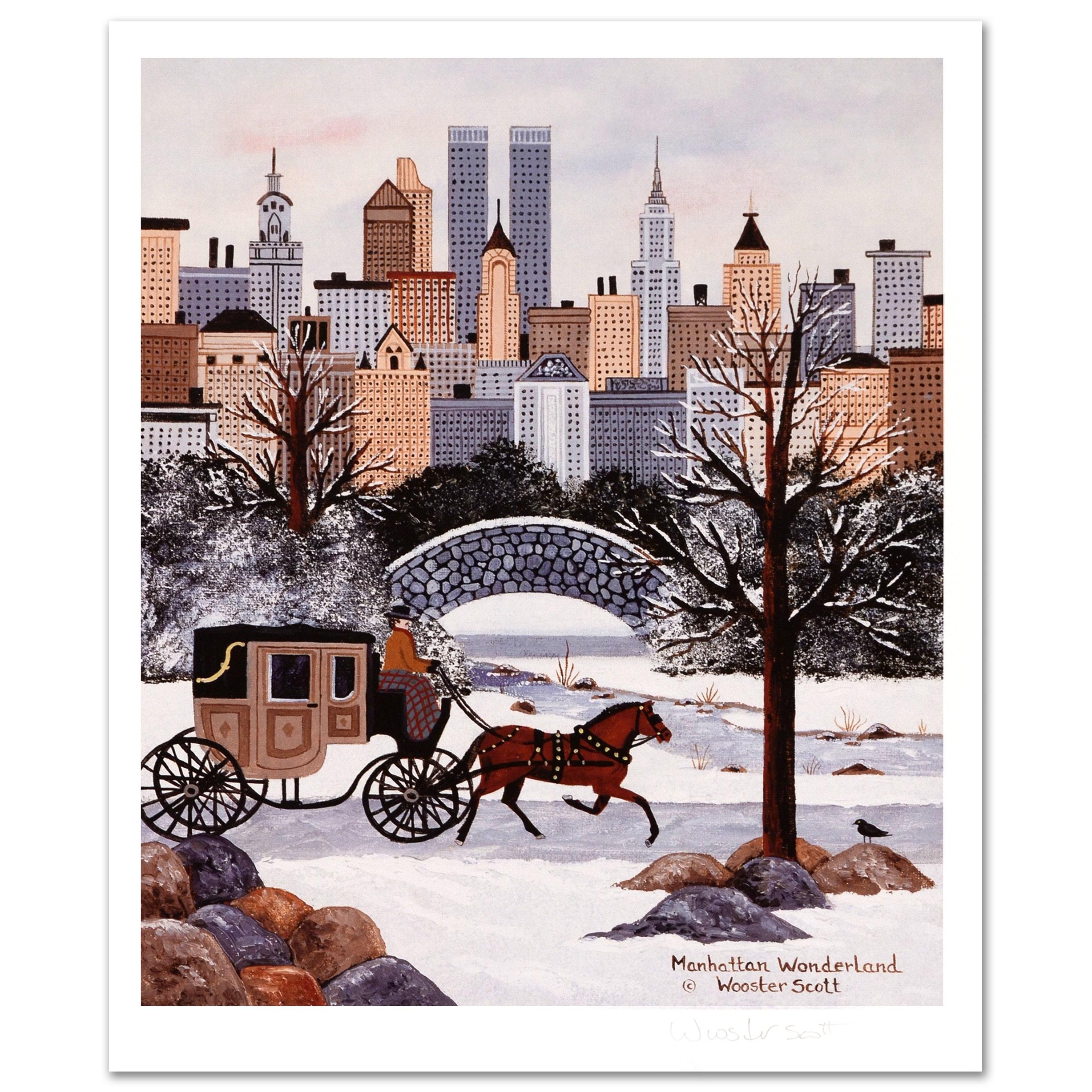 """Jane Wooster Scott Limited Edition Lithograph """"Manhattan Wonderland"""""""