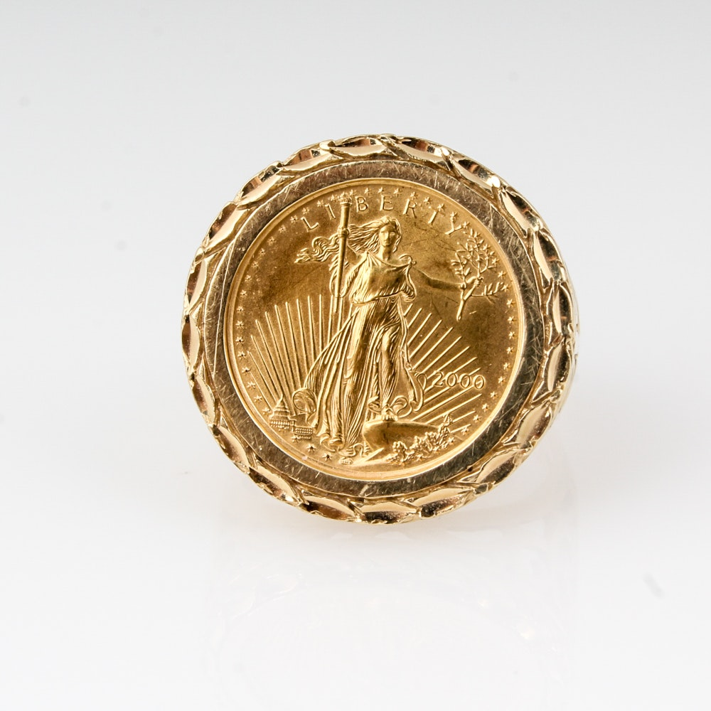 14K Yellow Gold 2000 Liberty Five Dollar Coin Ring