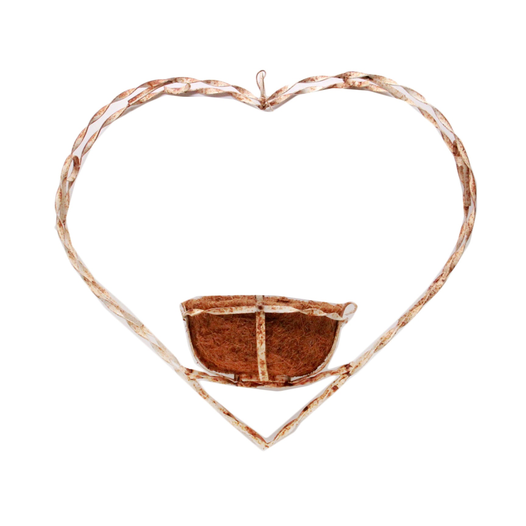Heart Shaped Rustic Wrought Iron Hanging Planter Ebth