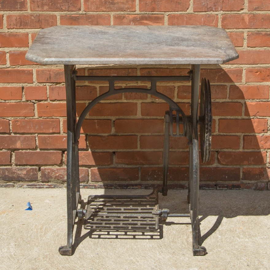 Antique cast iron sewing table base with marble top ebth for Cast iron table base marble top