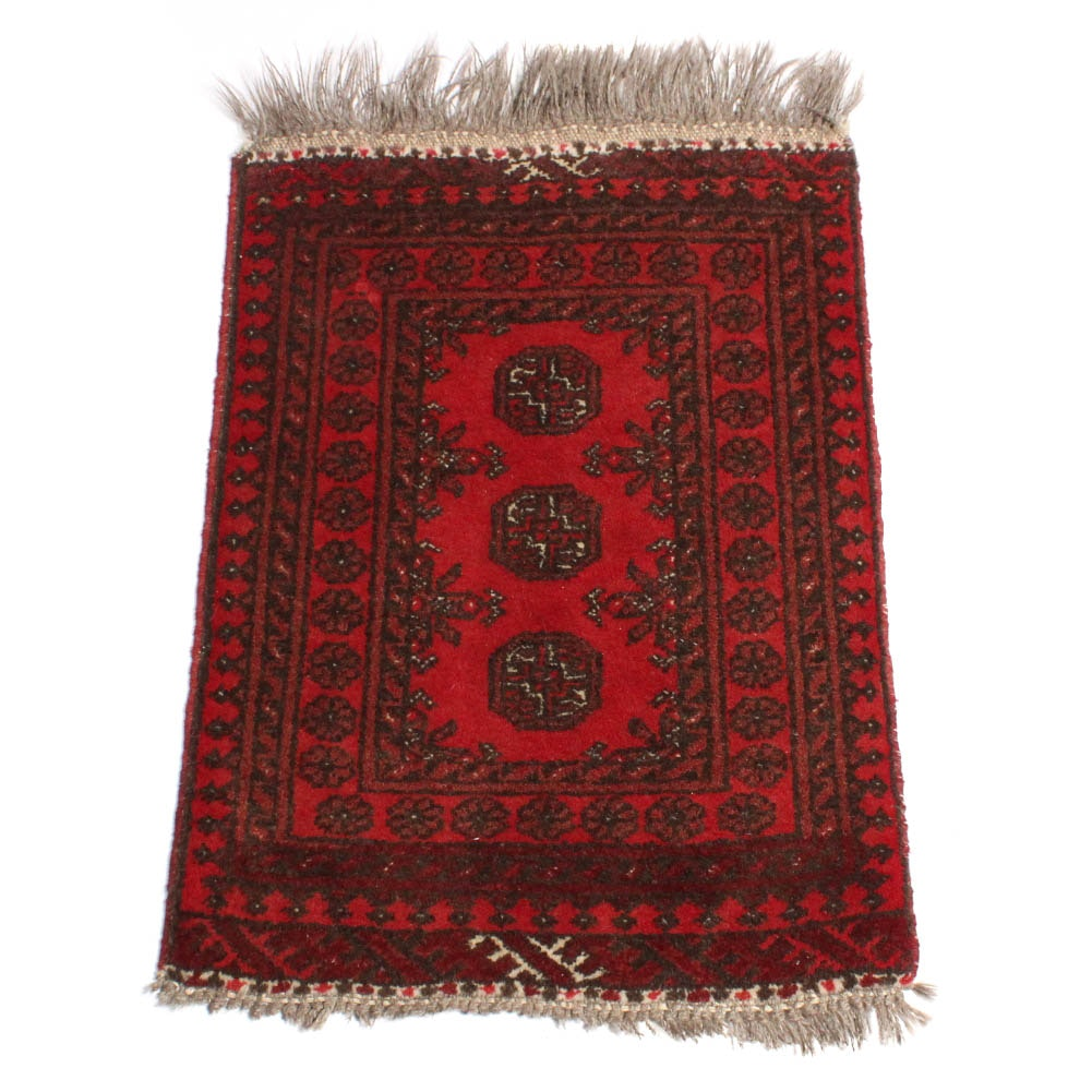 Hand-Knotted Afghani Turkoman Accent Rug