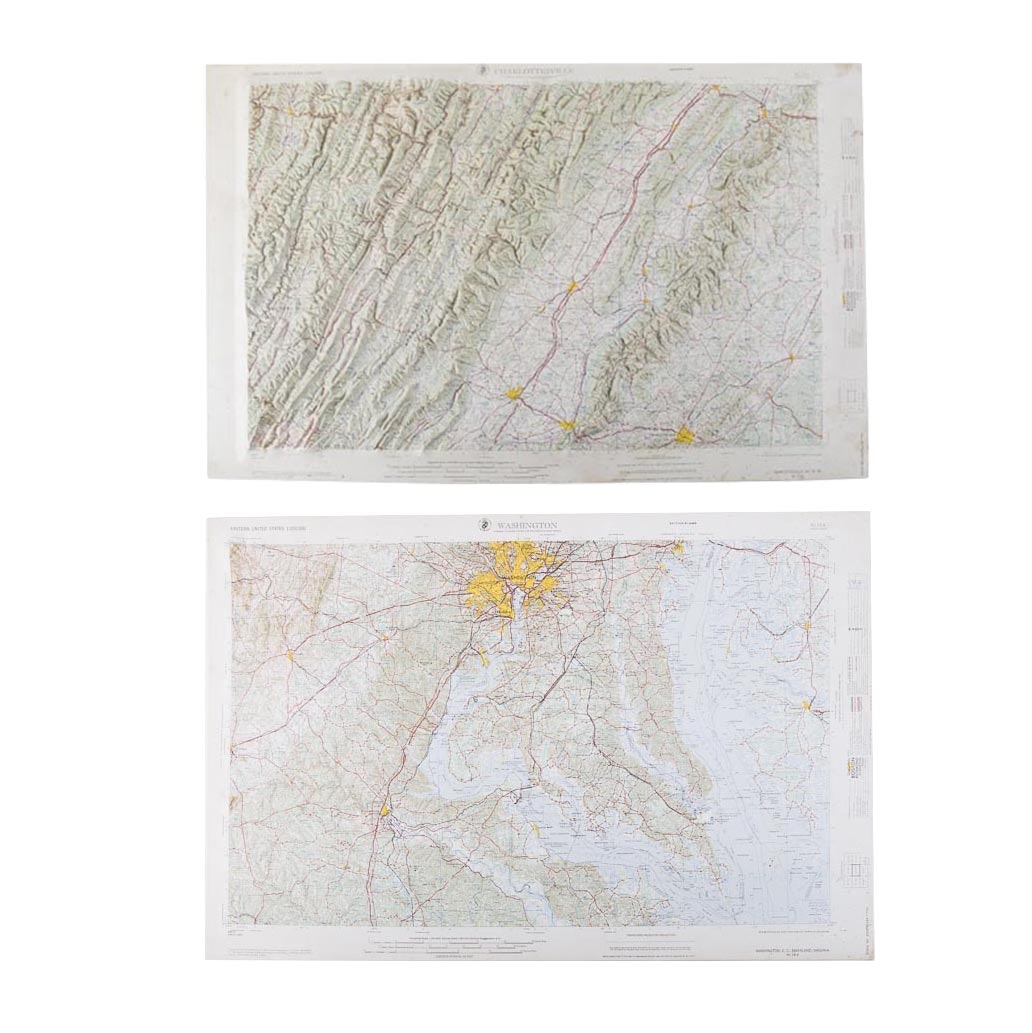 Topographic Map Washington Dc.Vintage 3 D Topographical Maps Of Washington D C And Virginia Ebth