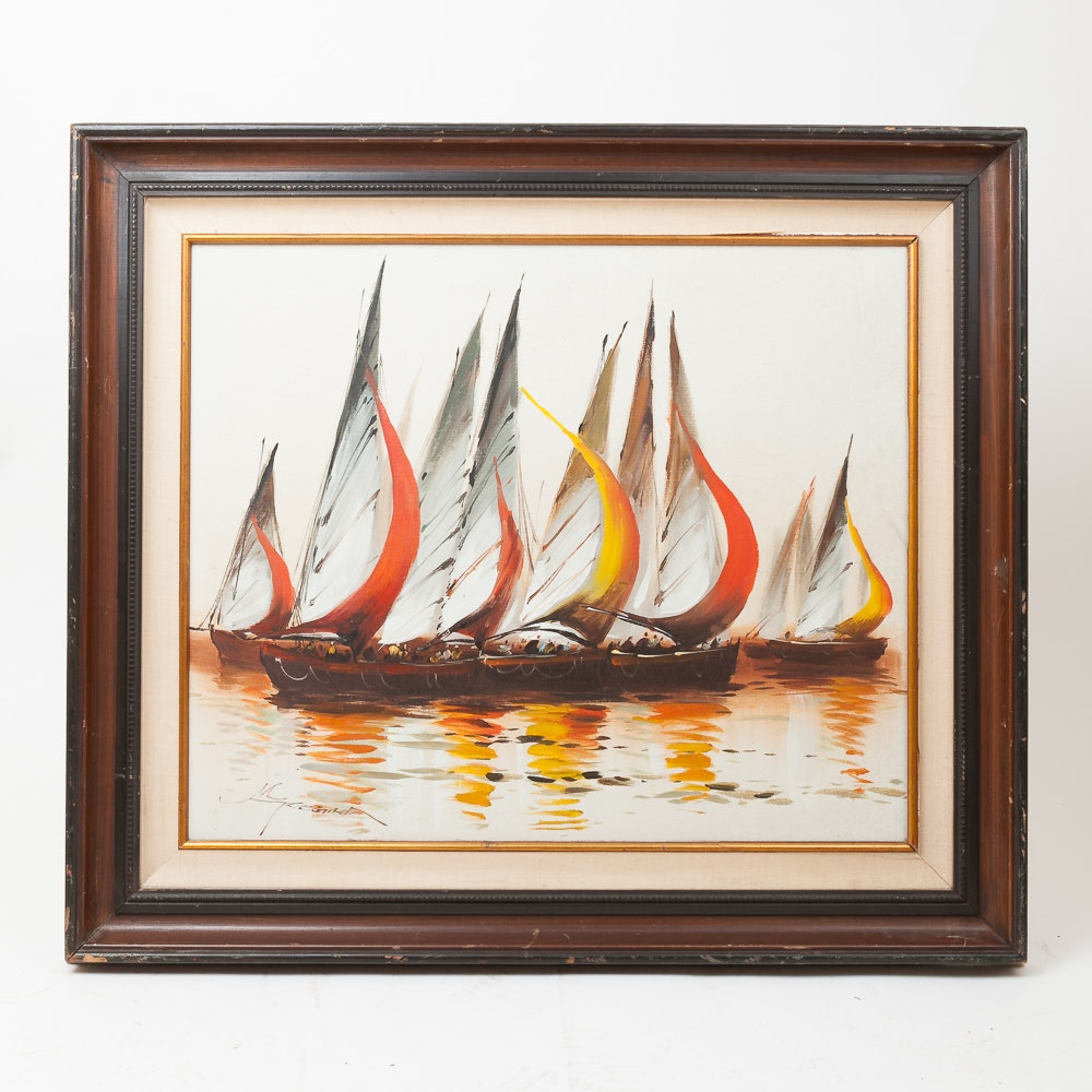 Acrylic on Canvas Painting of Boats
