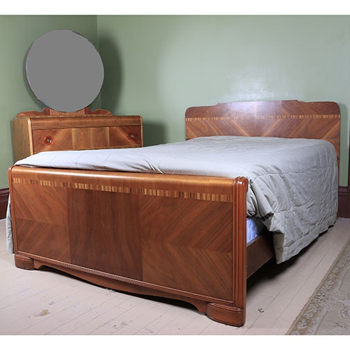 Art Deco Waterfall Dresser and Full Size Headboard and Footboard