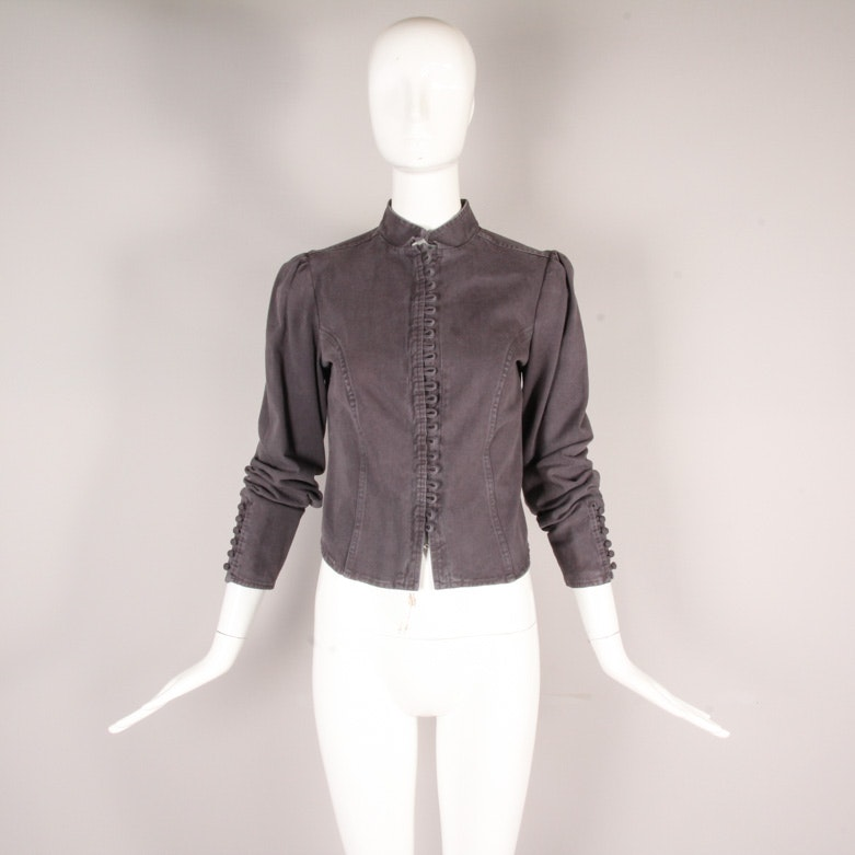 Joie Fitted Denim Jacket with Rouleau Button Loop Detail