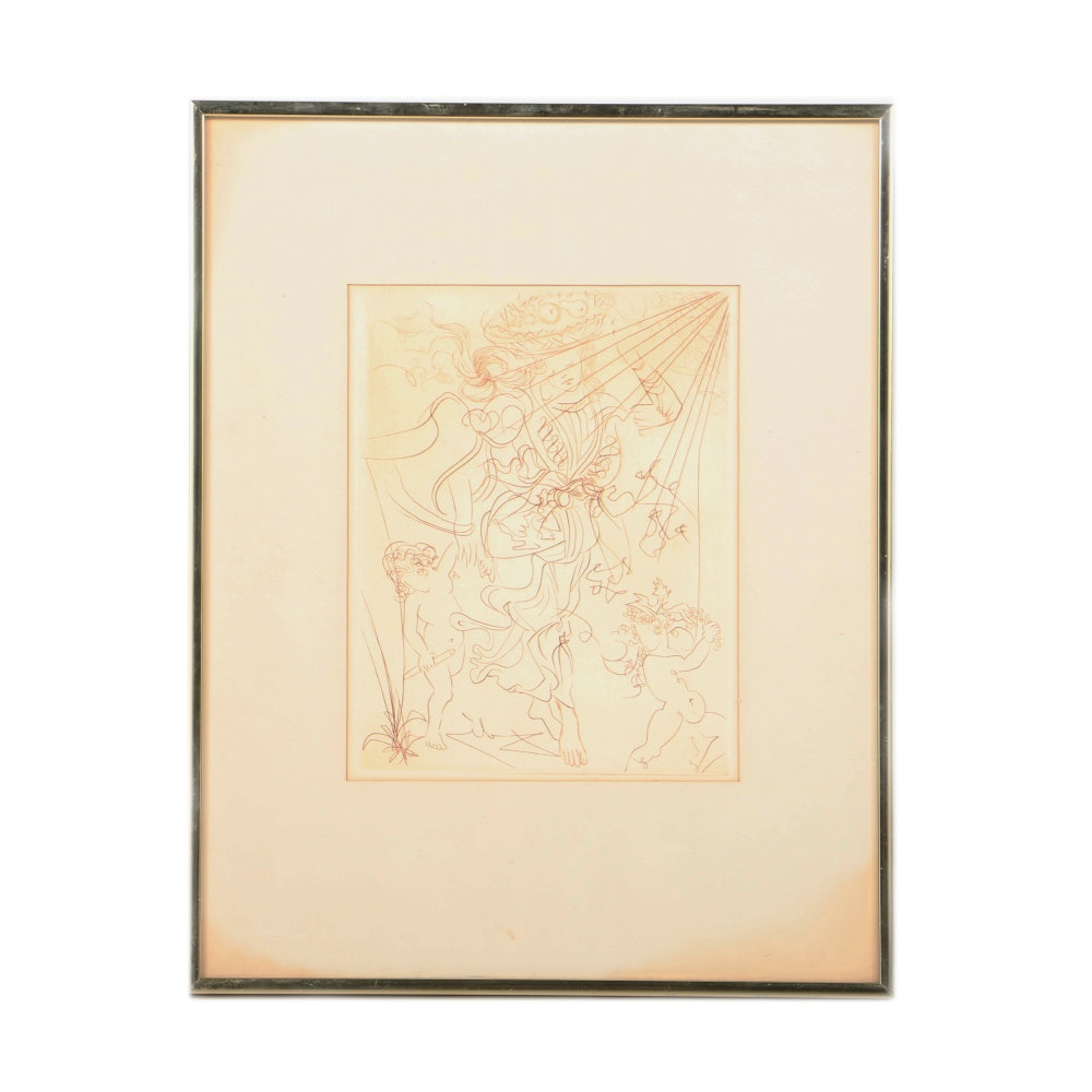"Salvador Dalí Second Edition Engraving on Paper ""Autumn"""