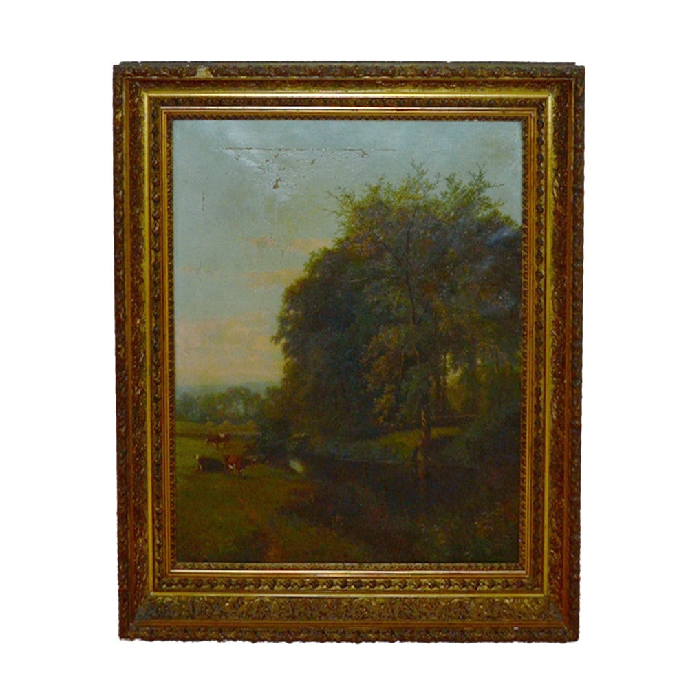Oil on Canvas Pastoral Landscape Painting with Cows