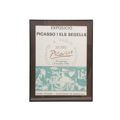 """Lithograph Poster for 1978 Museu Picasso """"Exposició Picasso I Els Segells"""" Exhibit"""
