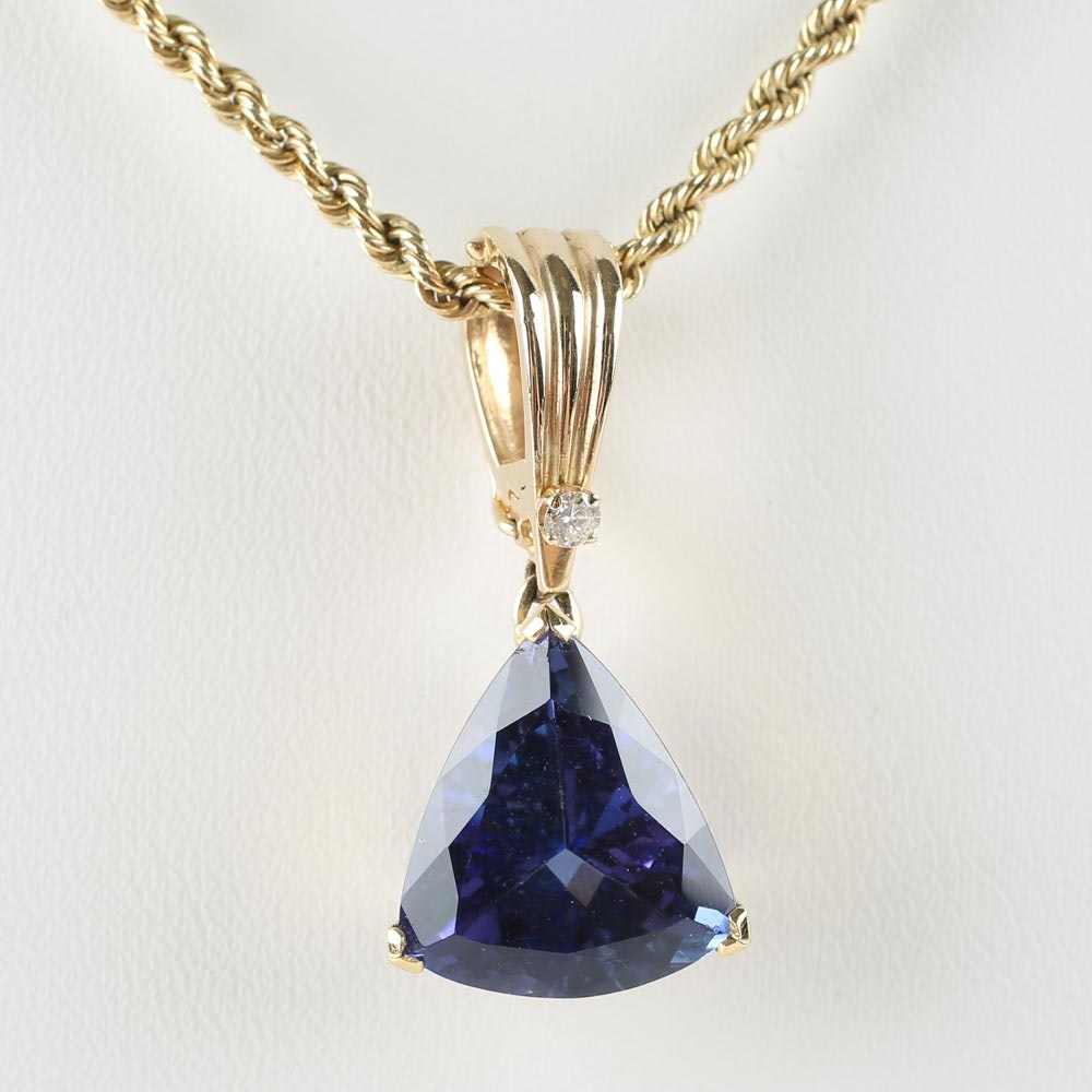 14K Yellow Gold Tanzanite and Diamond Pendant Necklace