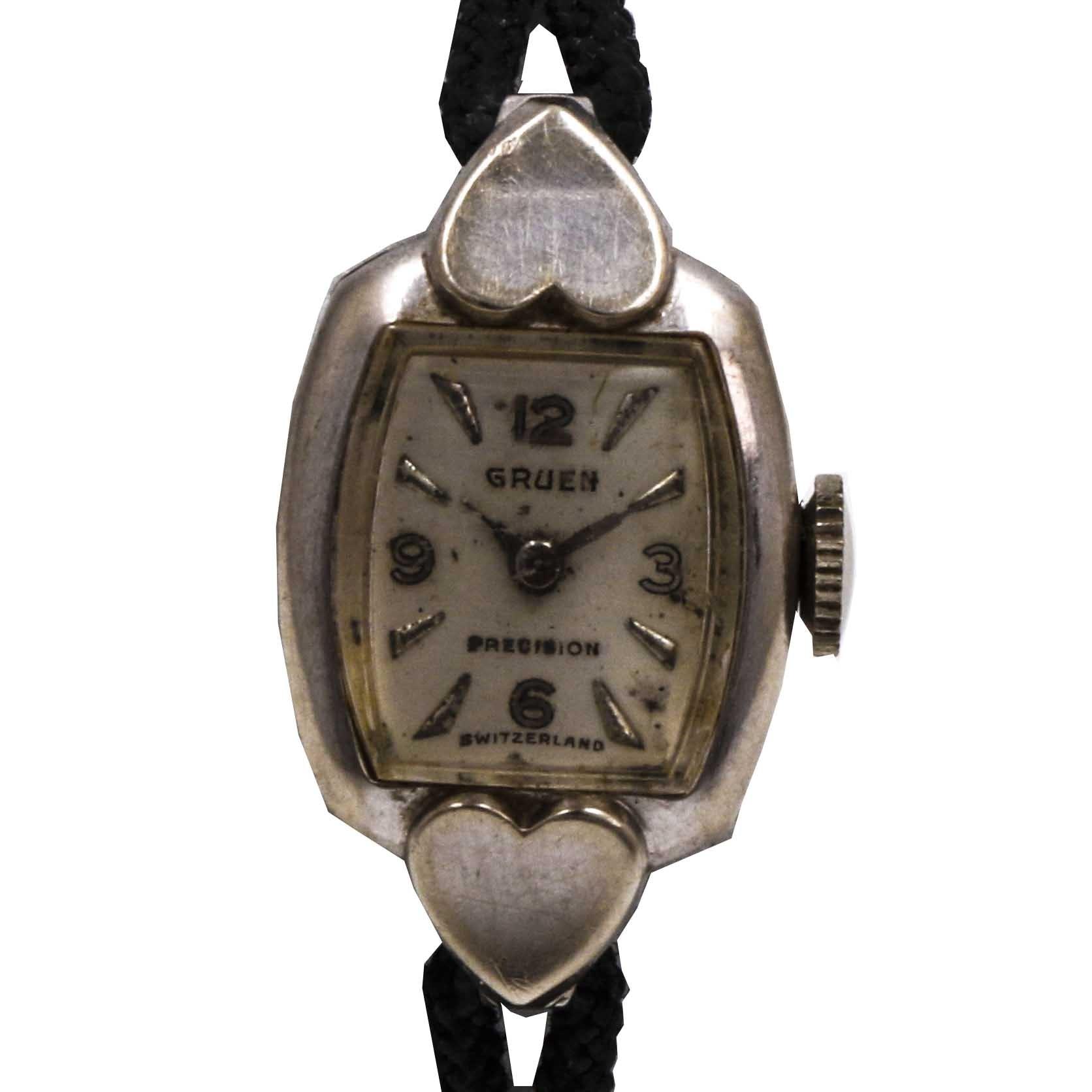 14K White Gold Gruen Wristwatch
