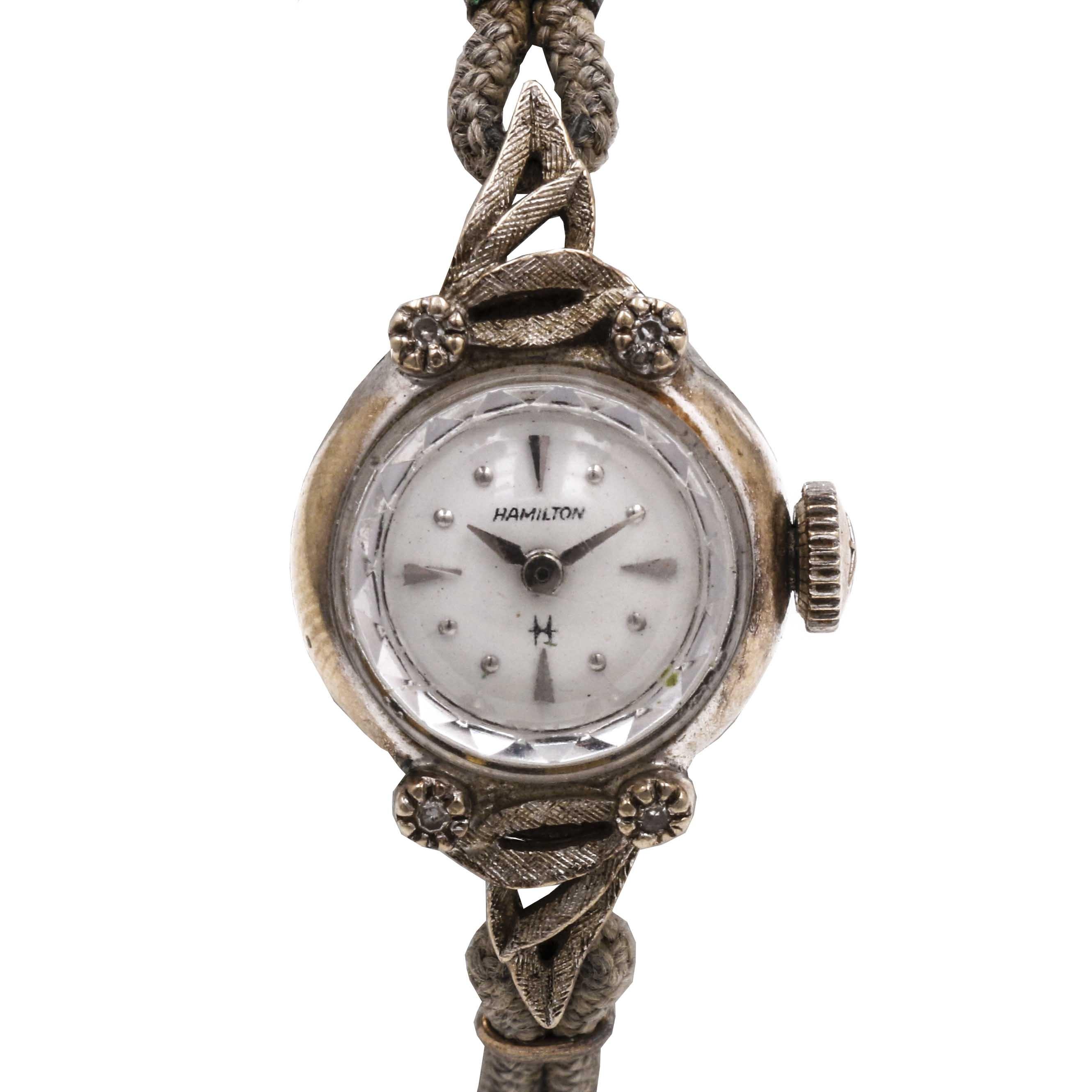10K White Gold Hamilton Diamond Wristwatch
