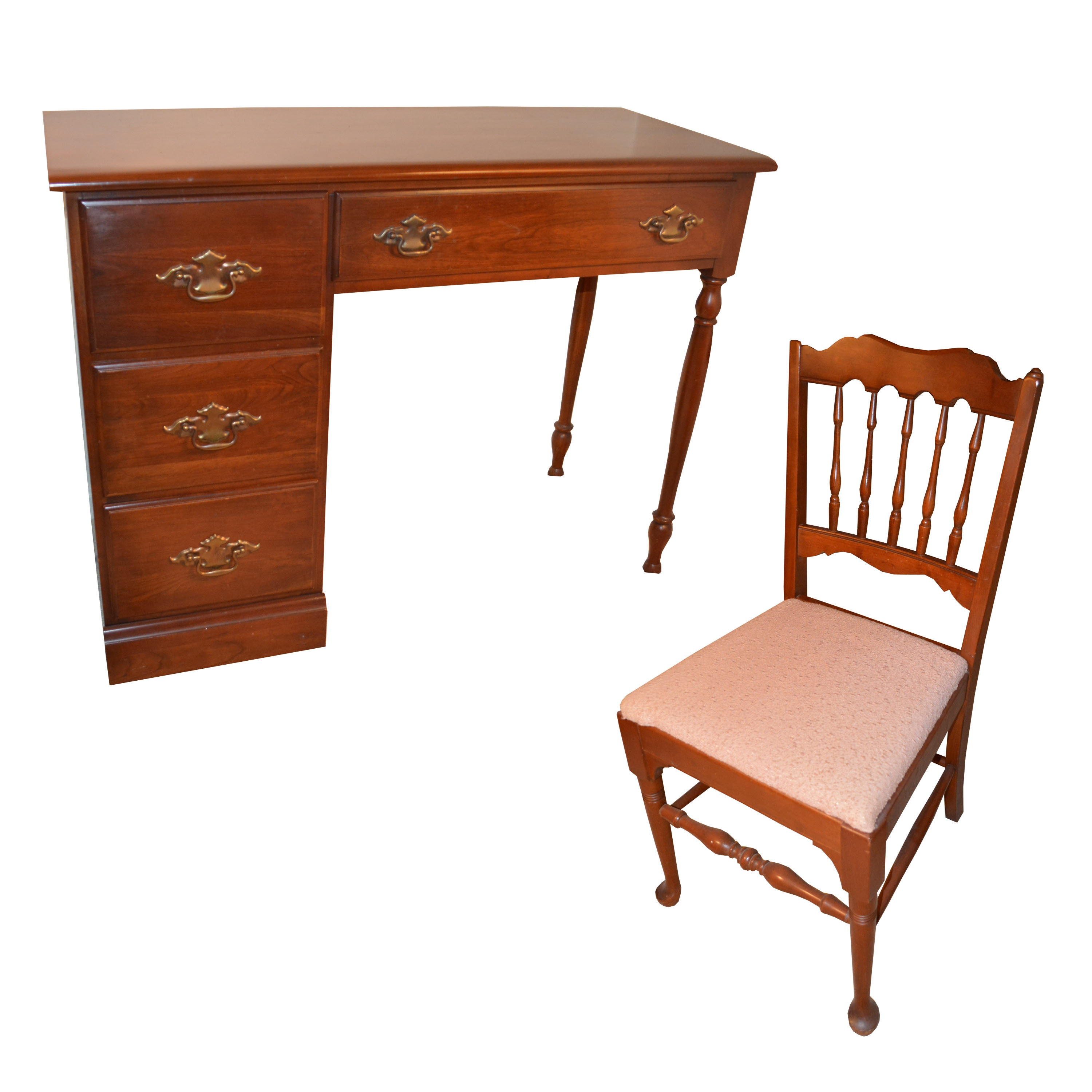 Solid Cherry Writing Desk with Chair by Young Hinkle