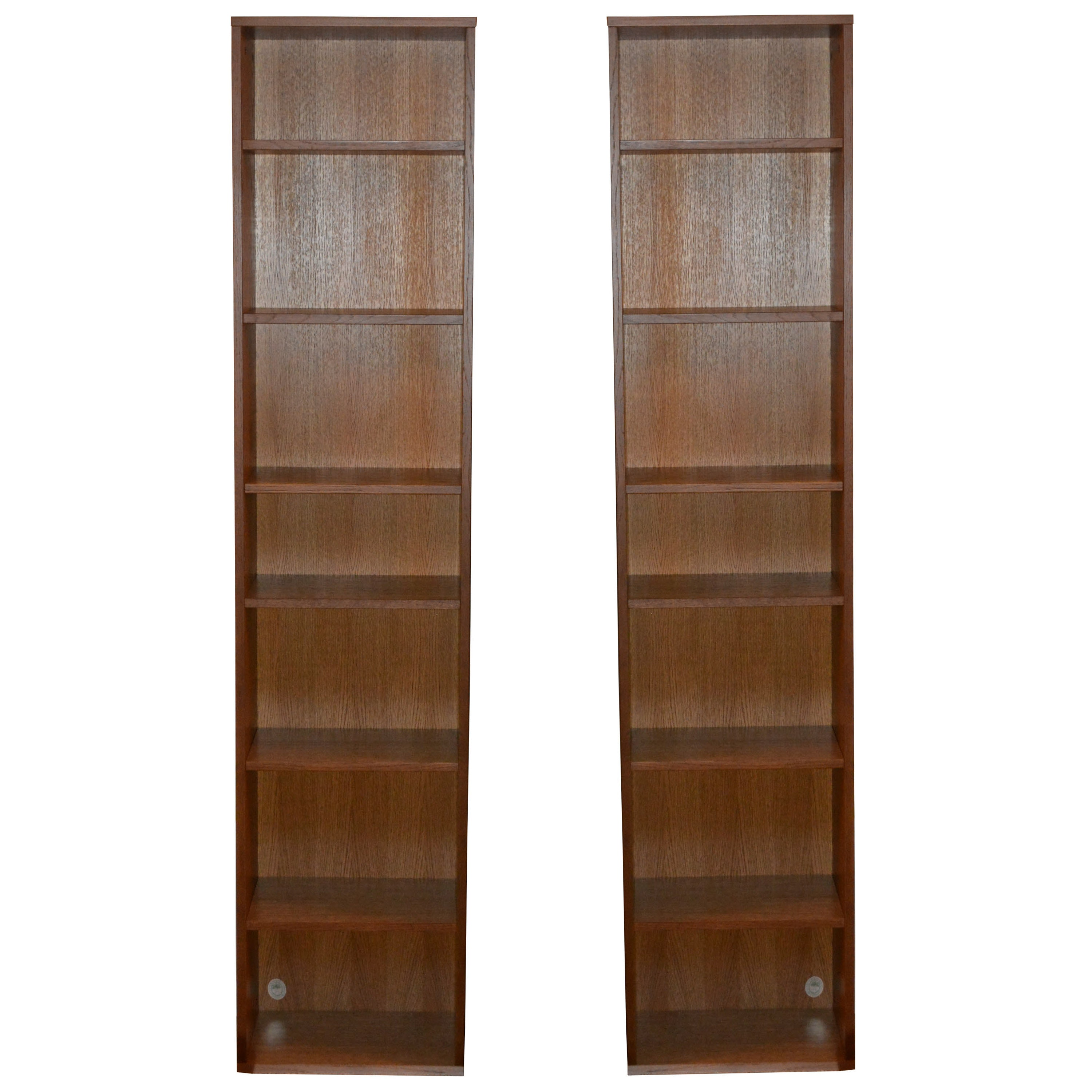 Pair of Narrow Oak Bookcases