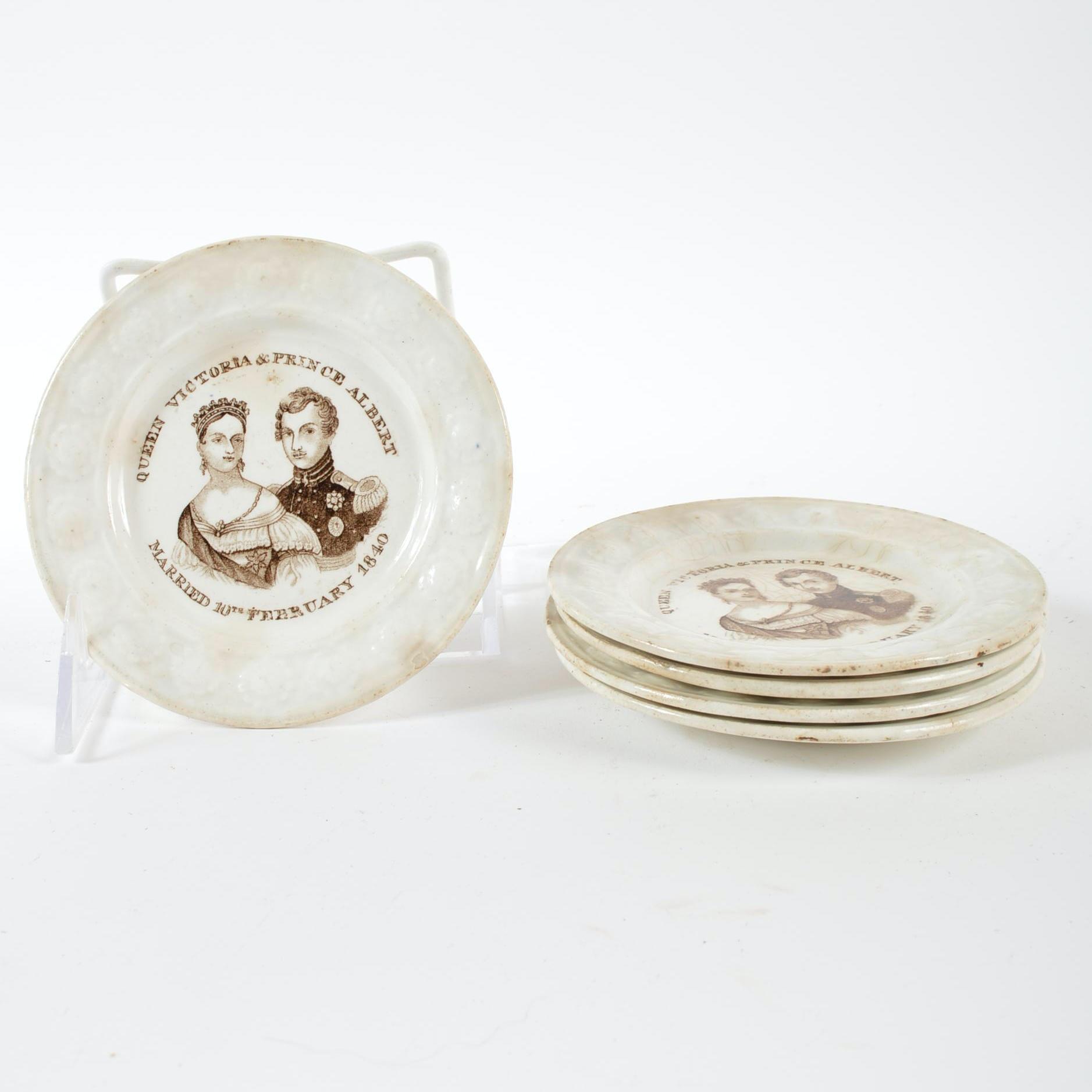 Antique Queen Victoria and Prince Albert Commemorative Plates