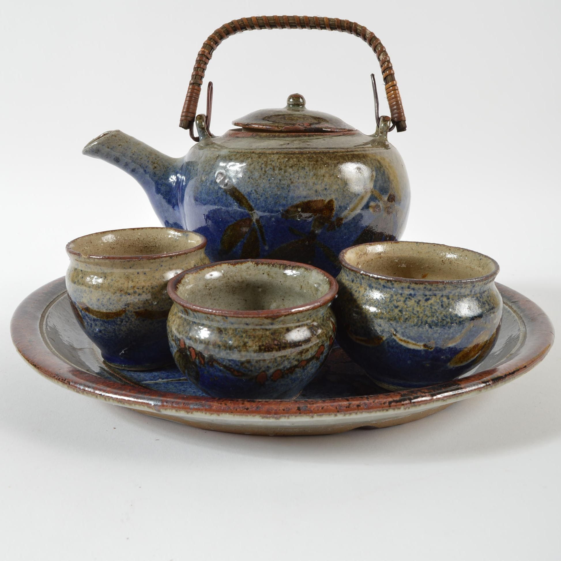 Blue and Brown Glazed Asian Inspired Tea Set