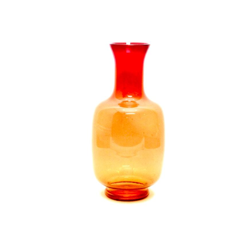 Amberina Glass Vase Ebth
