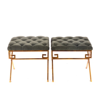 Gray Upholstered Tufted Stools