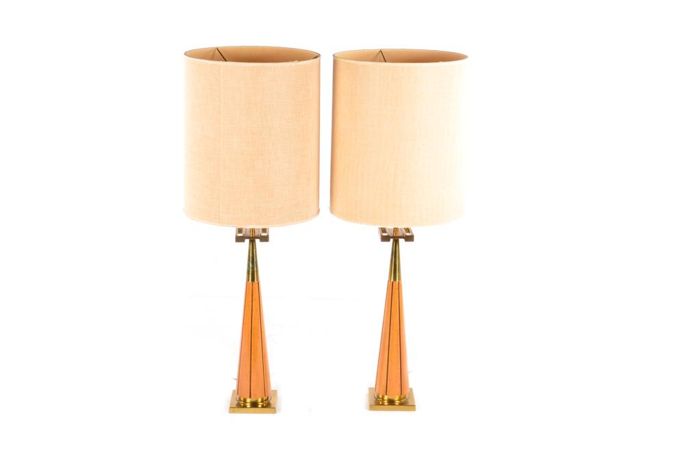 Mid Century Modern Teak and Brass Table Lamps EBTH