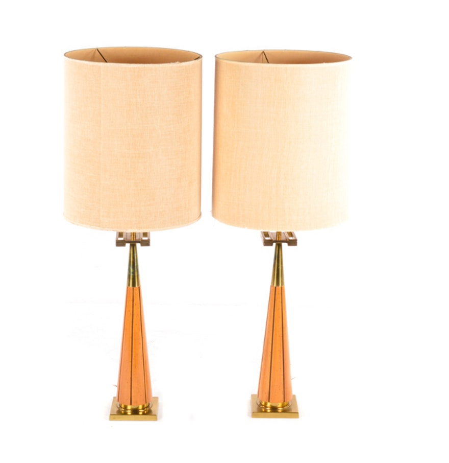 Mid century modern brass table lamps - Mid Century Modern Teak And Brass Table Lamps