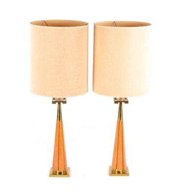 Mid Century Modern Teak and Brass Table Lamps