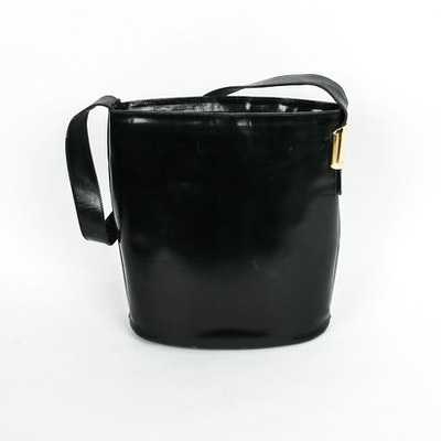 Vintage Gucci Black Leather Bucket Style Handbag