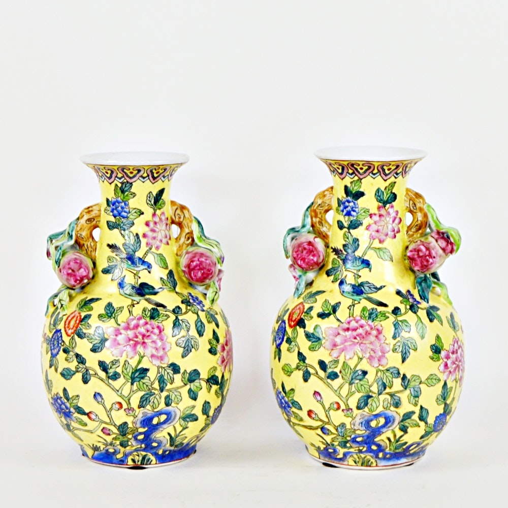 Chinese Export Floral Vases