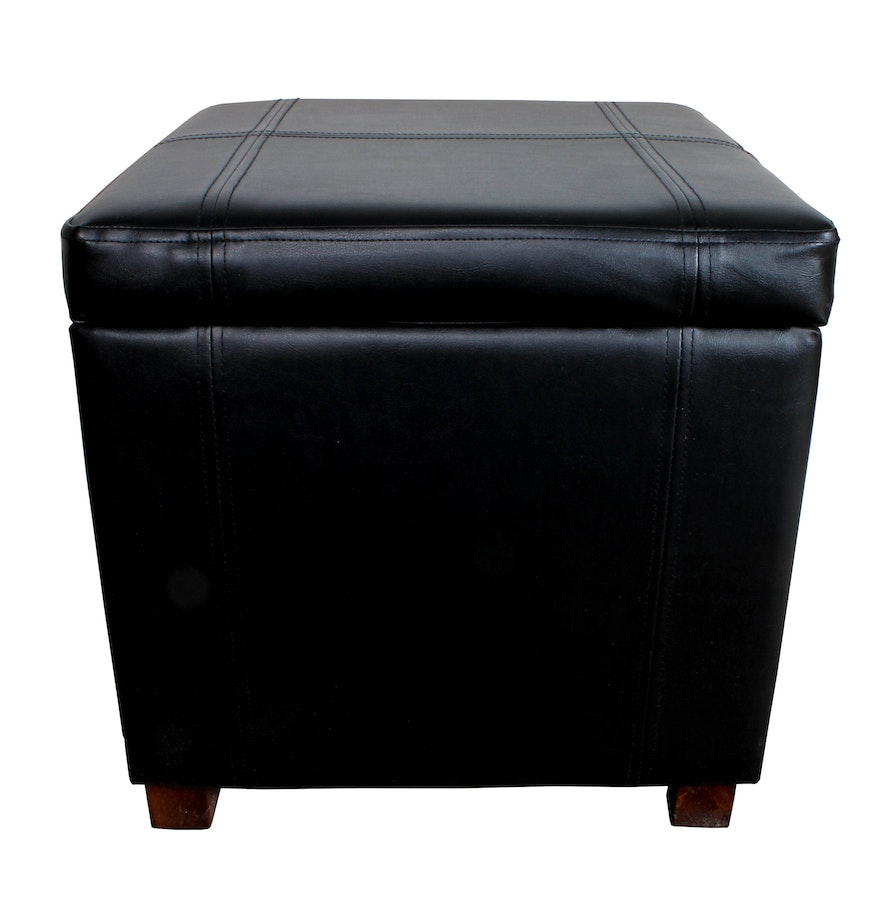 Contemporary Black Faux Leather Storage Ottoman ... - Contemporary Black Faux Leather Storage Ottoman : EBTH