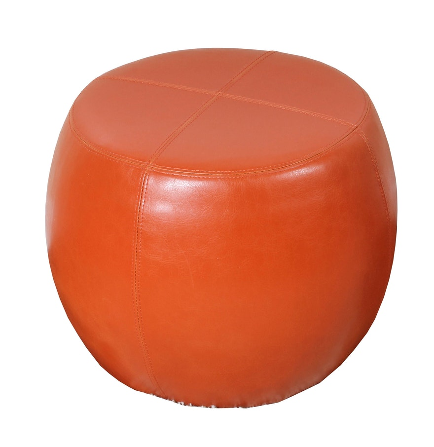 pier  imports orange leather ottoman  ebth - pier  imports orange leather ottoman