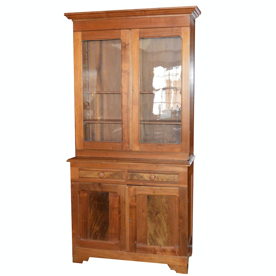 Antique Glazed-Door Stepback Cupboard ... - Antique Glazed-Door Stepback Cupboard : EBTH