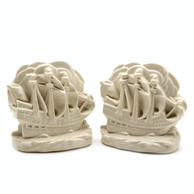 Pair of Rookwood Galleon Ship Bookends