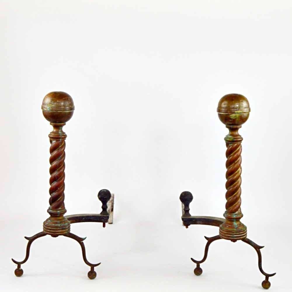 Antique Brass and Iron Andirons
