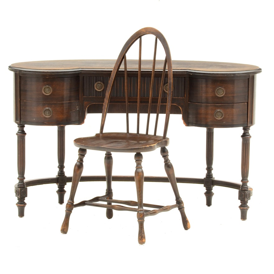 Antique Kidney Desk with Chair ... - Antique Kidney Desk With Chair : EBTH