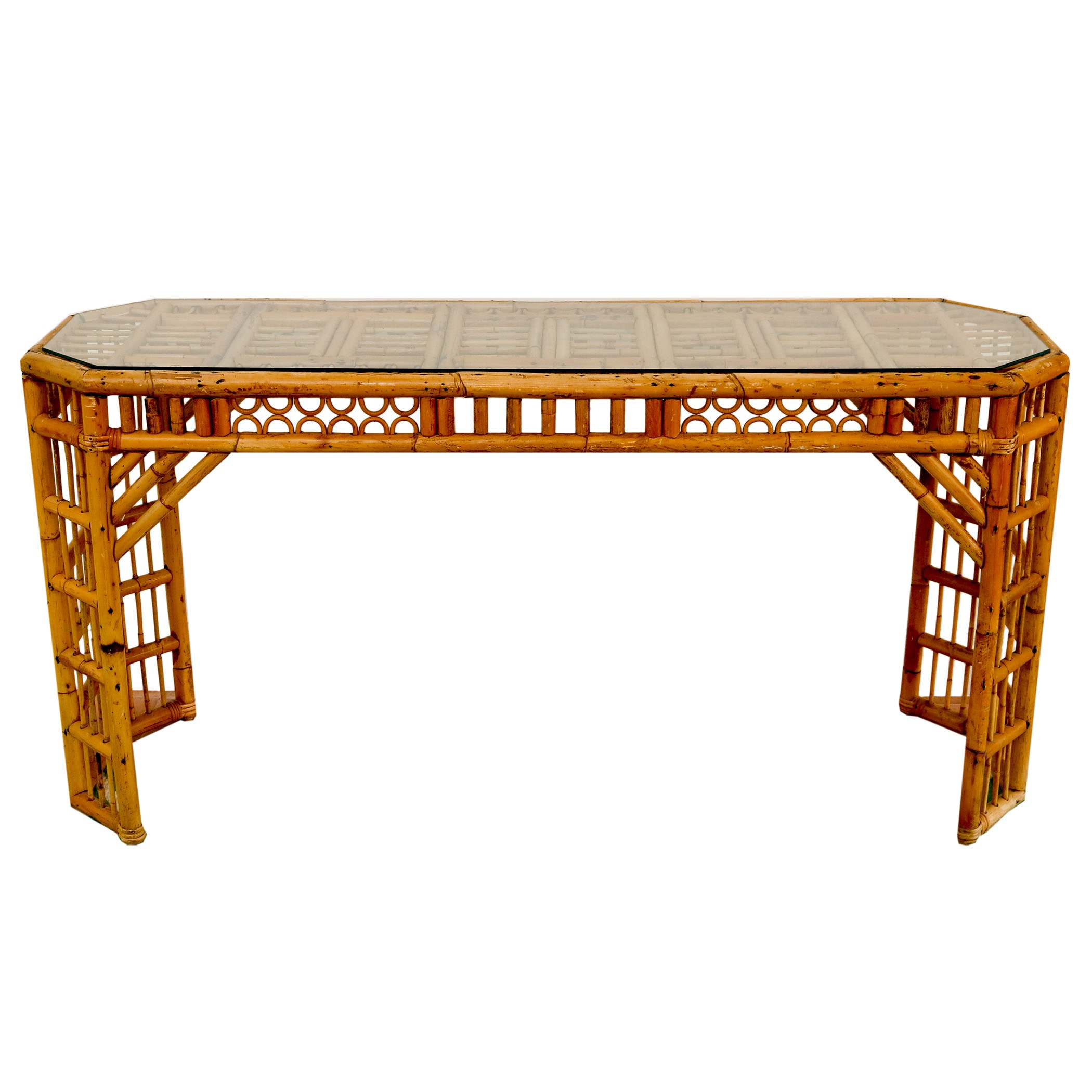 Glass Top Rattan Console Table