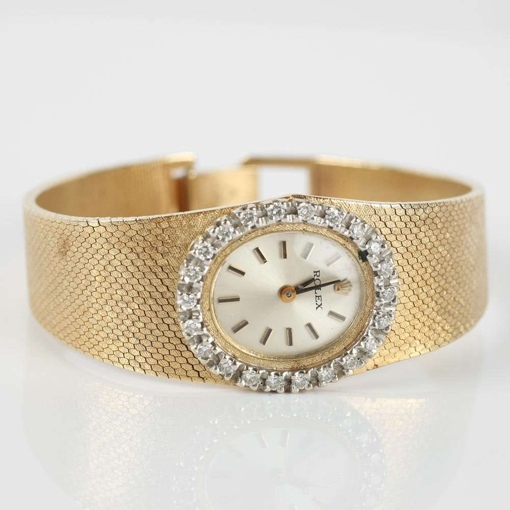 Vintage 14K Yellow Gold and Diamond Rolex Wristwatch
