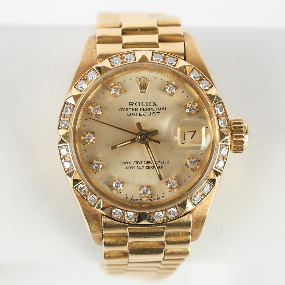 Women's 18K Yellow Gold and Diamond Vintage Rolex Oyster Wristwatch