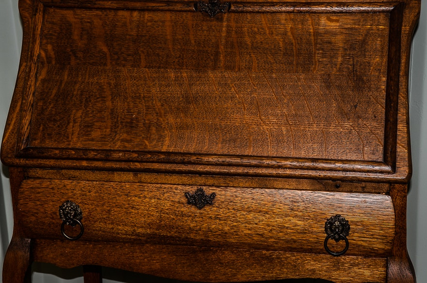 Antique Oak Secretary Desk With Mirror Ebth