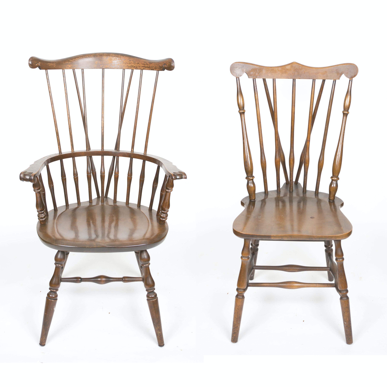 Walnut Brace Back Windsor Chairs ...