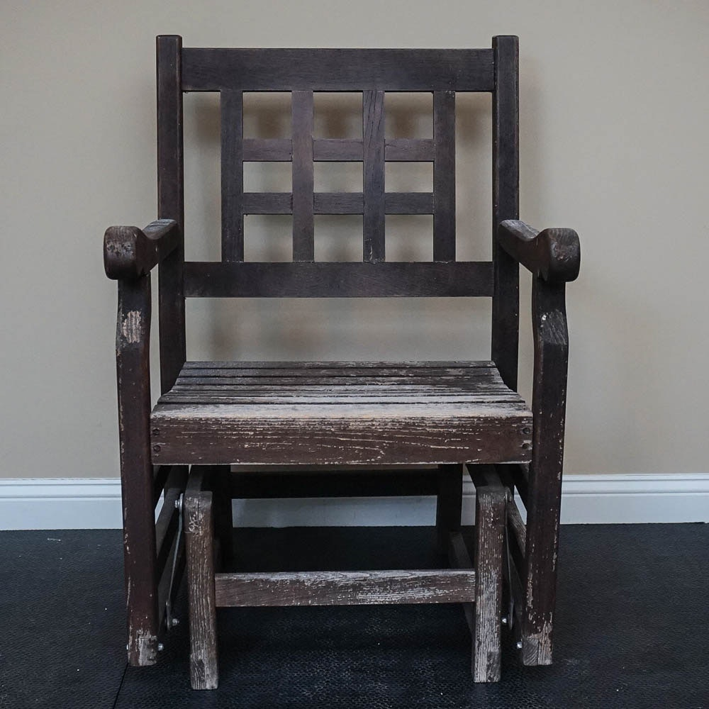 Dark Stained Wooden Rocker