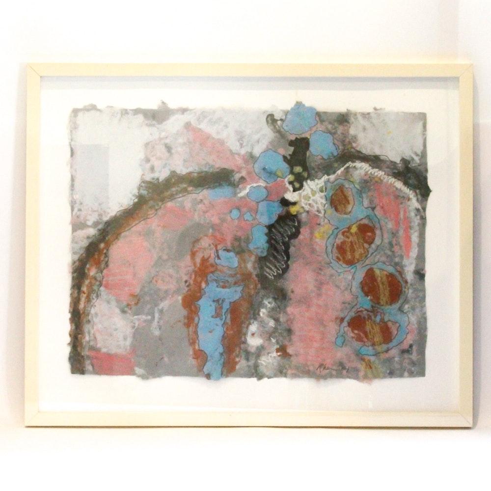 Circa 1984 Margaret Rhein Paper Pulp Collage
